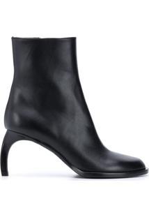 Ann Demeulemeester Ankle Boot Com Salto Curvado - Preto
