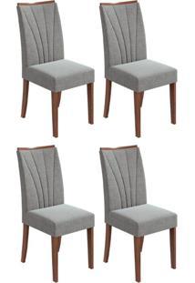 Conjunto Com 4 Cadeiras Apogeu Imbuia E Cinza