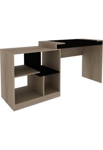 Escrivaninha 2X1 Avelã Hecol Móveis Marrom/Preto