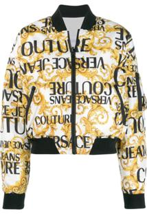Versace Jeans Couture Jaqueta Bomber Com Estampa De Logo - Branco