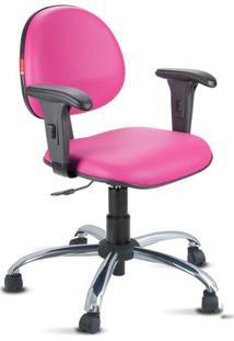 Cadeira Escritório Rosa Cromada Com Braços