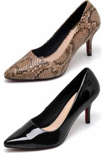 Kit 2 Pares Scarpin Casual Bellatrix Marrom/Preto