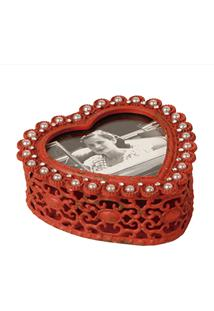 Porta-Joias De Metal Decorativo Heart Com Pérolas