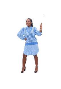 Colete Pulôver Blusa Feminino Trico Lã Trança Ótima Qualidade Azul