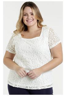 6fe5dcb7b Marisa. Blusa Feminina Renda Plus Size Manga Curta Marisa