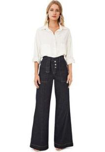 Calça Iódice Pantalona Cós Alto Bolso Faca Jeans Feminina - Feminino