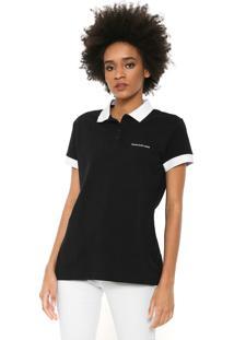 Camisa Polo Calvin Klein Jeans Logo Preta/Branca
