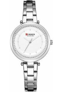 Relógio Curren Analógico C9054L Feminino - Feminino-Prata