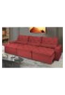Sofá Lisboa 4,12M Retrátil, Reclinável, Molas No Assento E Almofadas Lombar Tecido Suede Vermelho