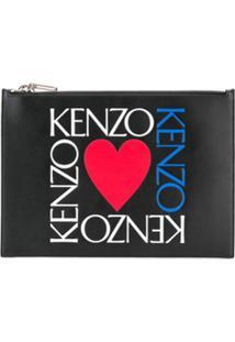 Kenzo Clutch Com Estampa De Logo - Preto