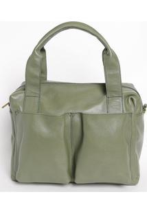 Bolsa Em Couro Com Compartimentos- Verde- 30X32X14Cmmr. Cat
