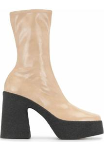 Stella Mccartney Ankle Boot Com Plataforma - Neutro