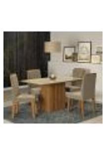 Conjunto De Mesa De Jantar Retangular Com Tampo De Vidro E 4 Cadeiras Estofadas Ana Suede Nude E Off White
