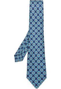 Kiton Gravata De Seda Com Padronagem - Azul