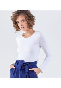Camiseta Liz Easywear Manga Longa Feminina - Feminino-Branco