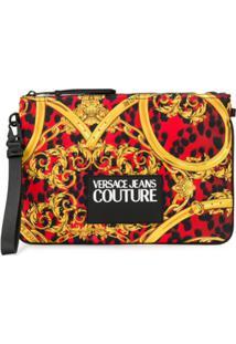 Versace Jeans Couture Clutch Com Estampa De Leopardo E Barroca - Vermelho