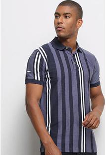 Camisa Polo Aleatory Fio Tinto Masculina - Masculino-Azul+Marinho