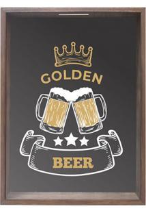 Quadro Porta Rolhas E Tampinhas Golden Beer Madeira