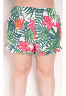 Short Floral Verde Com Babados Plus Size