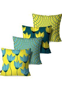 Kit Com 4 Capas Pump Up Para Almofadas Decorativas Flores 3D Abstrato 45X45Cm