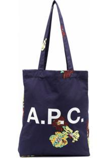 A.P.C. Bolsa Tote Com Estampa De Logo - Azul