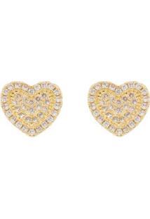 Brinco Aea Delicado Coraçãozinho Folheado Ouro 18K - Feminino-Dourado