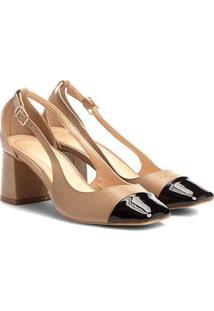 Scarpin Couro Shoestock Salto Bloco Biqueira - Feminino