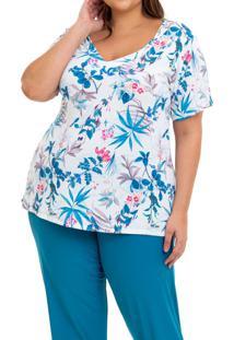 Pijama Longo Liganete Floral Green Sepie (2453) Plus Size