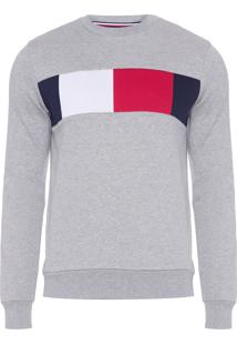 Blusa Masculina Flag Chest Logo - Cinza