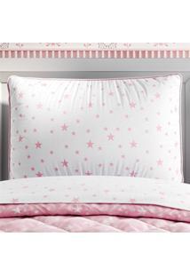 Capa Travesseiro Infantil Branco/Rosa Estrelas Grão De Gente Rosa