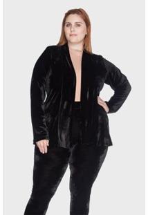 Blazer Bold Desestruturado Plus Size 54/56 Feminino - Feminino-Preto