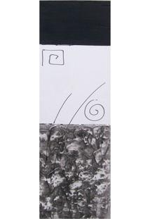 Quadro Artesanal Com Textura Abstrato Preto 20X60Cm Uniart