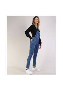 Macacão Jeans Feminino Skinny Azul Escuro