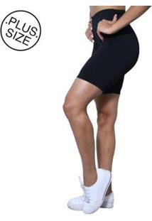 Bermuda Plus Size Heide Ribeiro Legging Suplex Basic Feminina - Feminino-Preto