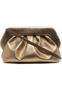Themoirè Bios Metallic Clutch Bag - Dourado