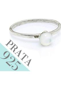 Anel Kumbayá De 925 Madreperola Pequena Joias Feminino - Feminino-Prata
