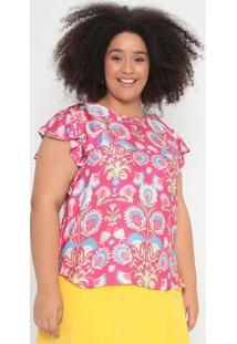 Blusa Acetinada & Floral- Pink & Azul- Cotton Colorscotton Colors Extra
