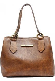 Bolsa Em Couro Recuo Fashion Bag Baú Telha