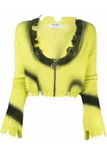 The Attico Cardigan Tie-Dye Com Efeito Destroyed - Amarelo