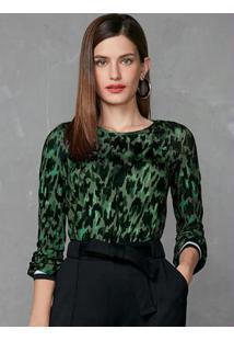 Blusa Verde Escuro Estampada Com Punho