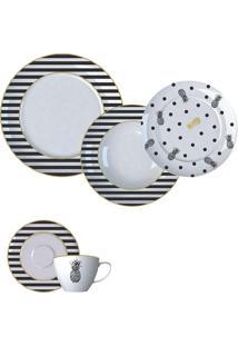 Aparelho De Jantar 20 Peças Fancy - Germer - Branco / Preto