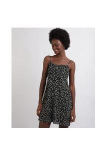 Vestido Feminino Curto Em Tule Estampado Floral Alças Finas Decote Reto Preto