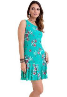 Vestido Manola Tiffany Floral Babado Feminino - Feminino-Azul