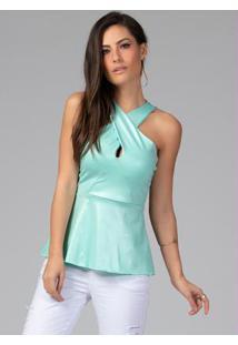 Blusa Verde Com Recortes E Decote Diamante