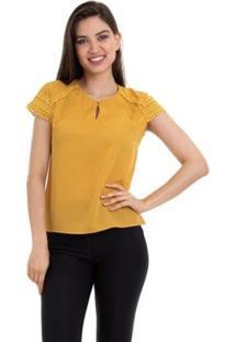 Blusa Crepe Manga Renda Feminino - Feminino-Amarelo