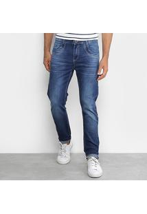 Calça Jeans Skinny Rock Blue Lavagem Média Masculina - Masculino-Azul