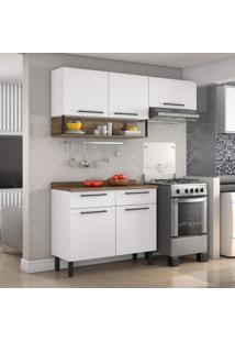 Cozinha Compacta 2 Peças Em Aço E Balcão Com Tampo Bali Itatiaia Branco/Castanho