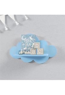 Prateleira Nuvem Azul Quarto Bebê Mdf P 30Cm Grão De Gente Azul