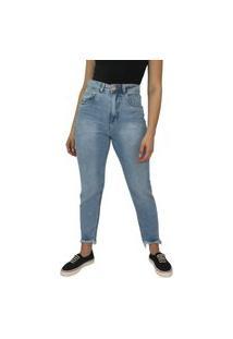 Calça Jeans Mom Feminina Ecxo Azul Cintura Alta Lisa