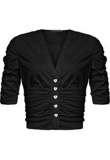 Blusa Feminina Cropped Franzido - Preto